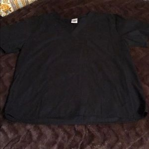 Tops - Solid black scrub top M